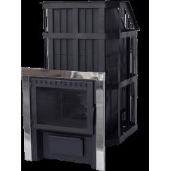 Печь для бани стальная СИБИРЬ с закрытой каменкой с панорамной дверцей