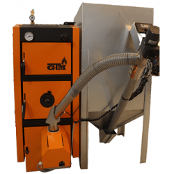 Пеллетный котел GTM Pellet Master 100 кВт с горелкой UNI-MAX (автоматическая многоступенчатая очистка) бункер 1000 кг
