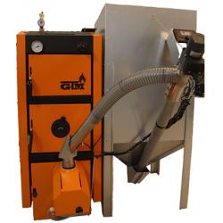 Пеллетный котел GTM Pellet Master 50 кВт с горелкой UNI-MAX (автоматическая многоступенчатая очистка) бункер 500 кг