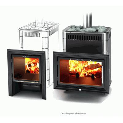 Печь для бани стальная Термофор (TMF) Витрувия Carbon БСЭ ТО антрацит НВ
