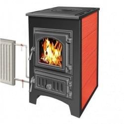 Стальная печь-камин Везувий ПК-01 (270) красная с плитой и теплообменником