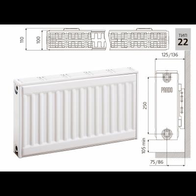 Cтальной панельный радиатор PRADO Classic 22х300х1700