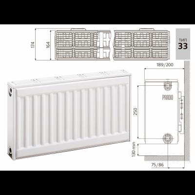 Cтальной панельный радиатор PRADO Classic 33х300х3000