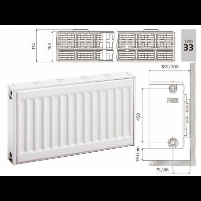 Cтальной панельный радиатор PRADO Classic 33х500х1100